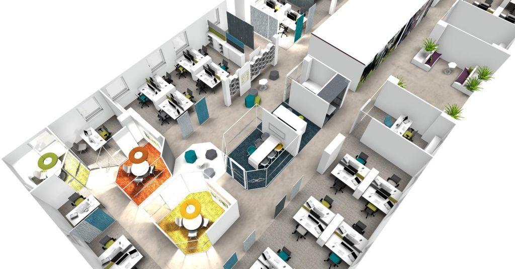 Aménagement virtuel de bureaux.
